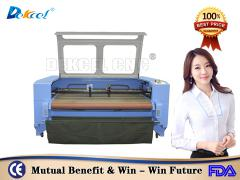 Dekcelcnc®Cnc 80w Co2 Laser Cutting Machine for Auto Feeding Fabric Cloth